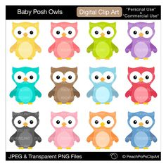 Reduce size and print labels to wrap on Hershey Nuggets.  Baby owl clip art digital clipart - ORIGINAL - Baby Posh Owls - Digital Clip Art - Personal Commercial Use. $5.00, via Etsy.