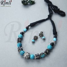 No photo description available. Beaded Necklace, Beaded Bracelets, Necklaces, Oxidised Jewellery, Ear Studs, Ladies Boutique, Turquoise Jewelry, Chokers, Jewelry Design
