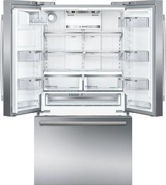 Bottom-Freezer Counter-Depth Refrigerator Stainless steel at Best Buy. Big Refrigerator, Counter Depth Refrigerator, Stainless Steel Refrigerator, Stainless Steel Counters, Stainless Steel Doors, Bosch Appliances, Tempered Glass Shelves, Door Shelves