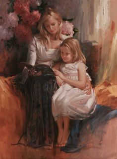 Story Book – One Before Bed. Richard S. Johnson American) by olive Mother Art, Mother And Child, Mother Daughter Art, Double Exposition, Art Institute Of Chicago, Renoir, Woman Painting, Art Plastique, Beautiful Paintings
