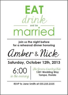 "Custom ""Eat Drink and be Married"" Rehearsal Dinner Invitations (Printable)"
