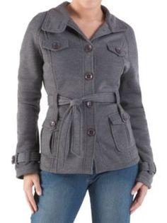 Long Sleeve 4 Pocket Fleece Jacket with Belt at Dots