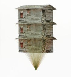 Tower, lonely house, 2013, embroidery on paper  Hagar Vardimon