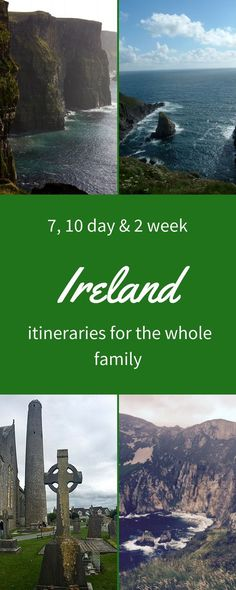 Fabulous Ireland travel itineraries to make the most of your time on the Emerald Isle. Whether you have one week, 10 days or to weeks, these detailed itineraries recommend stops and must see attractions in Ireland that are suitable for the whole families