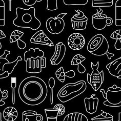 Meal Drawing Seamless Pattern Doodle Hand Drawn Line Art Vector Illustration Of Food And Drink Vector and PNG Outline Drawings, Doodle Drawings, Doodle Art, Vector Pattern, Pattern Art, Abstract Pattern, Dog Pattern, Doodle Background, Background Patterns