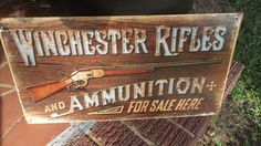 Winchester Rifles Ammunition Tin Metal Sign Guns Ammo Hunting Rustic Collectable in Collectibles, Sporting Goods   eBay