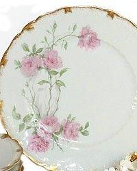 Antique French Haviland Limoges Baltimore Rose Plates.