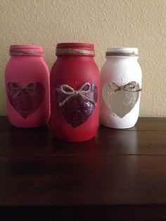 Valentines Mason Jars by Dustera on Etsy