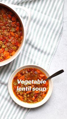 Lentil Soup Recipes, Vegetable Soup Recipes, Healthy Soup Recipes, Whole Food Recipes, Vegetarian Recipes, Dinner Recipes, Cooking Recipes, Healthy Lentil Soup, Low Calorie Vegetable Soup