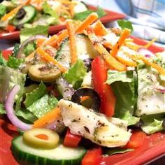 "Spicy Italian Salad | ""A marinated artichoke dressing and two types of olives are the highlight of this zesty romaine lettuce salad."" http://allrecipes.com/recipe/spicy-italian-salad/detail.aspx"