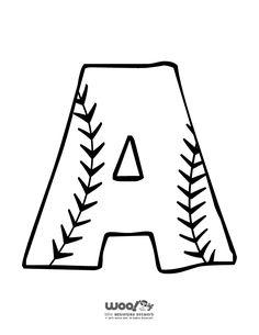 Printable Baseball Alphabet Letters Baseball Alphabet Letter A – Craft Jr. Baseball Letters, Baseball Quilt, Baseball Crafts, Baseball Signs, Baseball Games, Baseball Birthday, Baseball Party, Baseball Mom, Softball