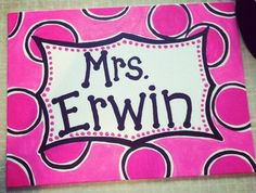 """These custom hand-painted name signs are the perfect """"warm welcome"""" to the entrance of your classroom. They come in a size but I am open to m. School Classroom, School Fun, School Stuff, School Ideas, Teacher Name Signs, Teacher Stuff, Painted Name Signs, Name Letters, Family Name Signs"""
