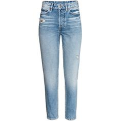 Vintage High Cropped Jeans $39.99 (2.310 RUB) ❤ liked on Polyvore featuring jeans, high-waisted jeans, distressed denim jeans, straight leg jeans, blue jeans and high rise jeans