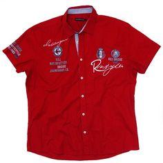 Red Bridge Logo Print - Print running around the Kent collar. Boys Wear, Sporty Style, Boys Shirts, Casual Shirts, Shirt Designs, Man Shirt, Mens Fashion, Sleeves, Mens Tops