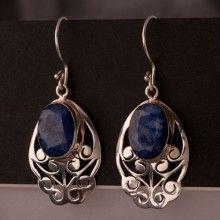 Brincos Prata Flor Azul
