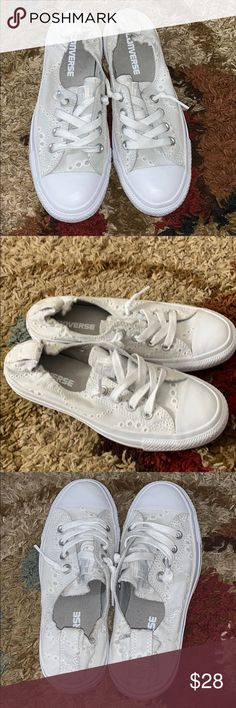 💗Converse slip on sneakers💗 Converse all star shoreline White lace  embroidered slip on sneakers shoes. 58158460d