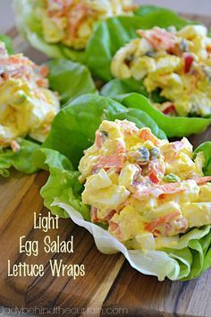 Light Egg Salad Lettuce Wraps These Light Egg Salad Lettuce Wraps are the perfect quick lunch or snack at around 124 calories for two! These Light Egg Salad Lettuce Wraps are perfect. With chopped red pepper, capers, green onion and carrots. Low Carb Recipes, Diet Recipes, Cooking Recipes, Healthy Recipes, Recipies, Burger Recipes, Sausage Recipes, Seafood Recipes, Pasta Recipes