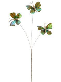 "Prettify a little glasshouse  BB2508    16"" Metallic Butterfly Pick x3"