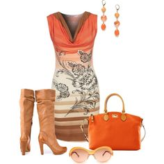 """Orange/Brown"" by nikki-kersey on Polyvore"