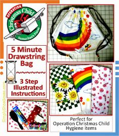 Simply Shoe Boxes: 3-Step, Five Minute Drawstring Tote Bag for Operation Christmas Child Shoe Boxes