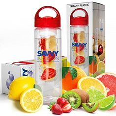 Savvy Infusion Water Bottle - 24 Oz - Create Your Own Naturally Flavored Fruit Infused Water, Juice, Iced Tea, Lemonade and Sparkling Beverages - Choice of Dazzling Colors Savvy Infusion