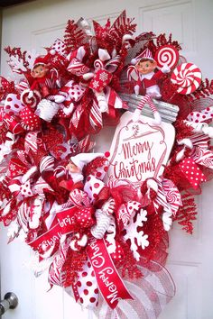 Christmas Wreath Candy Wreath Elf Wreath Holiday Wreath