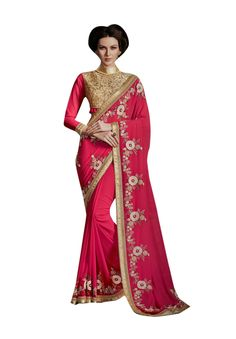 Description:- Pink color Pure Georgette fabric Saree comes with Beige and Pink Color Bhagalpuri & Net Fabric Beige color Heavy Floral Embroidery Worked Blouse. This Saree is covered with Beige Color Beautiful Floral Embroidery & Stone work on all over the Border line with copper color & Motty Lace border work with two side pipping. The Blouse can be Stitched upto size 44. Rate:- 2975/- For bookings:- Ring or Whatsapp on +919870725209 Shipping in India:- Free Cash on Delivery:- Available in…