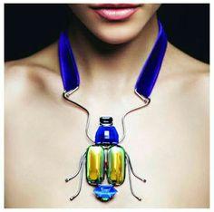 Modern scarab necklace by helene zubeldia