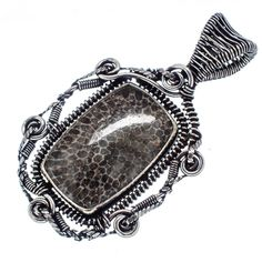 "Huge Stingray Coral 925 Sterling Silver Pendant 2 1/4"" PD549399"