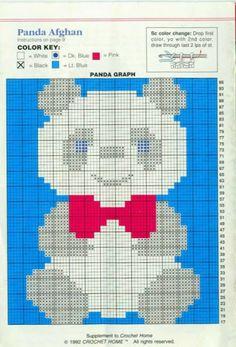 Artes by Cachopa - Croche  Trico: Croche - Manta infantil - Panda afghan
