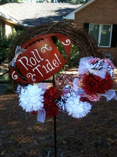 Alabama Football Roll Tide Wreath by mountainridgedesigns on Etsy, $55.00