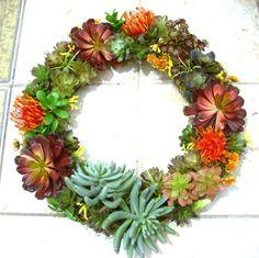 Faux Succulent Front Door Wreath, Artificial Succulent Door Wreath, Year Round…