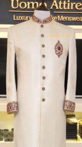 Sherwani for Men Customized by Uomo Attire Sherwani For Men Wedding, Wedding Dresses Men Indian, Wedding Outfits For Groom, Wedding Dress Men, Pakistani Bridal Dresses, Blue Sherwani, Sherwani Groom, Groom Wear, Outfits