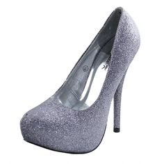 Save 10% + Free Shipping Offer * | Coupon Code: Pinterest10 Material: Man Made Material Heel Height: 5 inches, 1.5 inch platform Round Almond Toe Platform Pumps Product Code: Abby-03 Pewter Silver Glitter Women's Damita K Abby-03 Iron Glitter Platform Pumps Shoes
