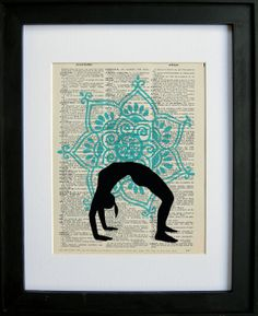 Yoga Pose Wheel Pose printed on a page from an antique dictionary on Etsy, $7.99