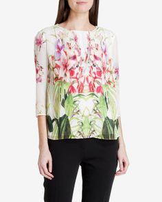 Mirrored tropics pleated blouse