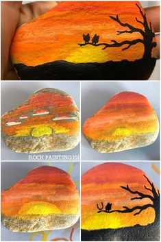 This bright orange sunset rock has a lovely tree silhouette and two fun owls. This bright orange sunset rock has a lovely tree silhouette and two fun owls. The post This bright orange sunset rock has a lovely tree silhouette and two fun owls. Rock Painting Patterns, Rock Painting Ideas Easy, Rock Painting Designs, Paint Designs, Creative Painting Ideas, Pebble Painting, Pebble Art, Stone Painting, Rock Art Painting
