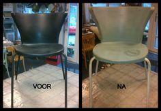 kunststof stoeltje voor en na