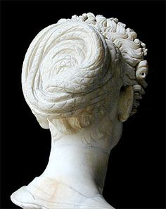 Bust showing Flavian hairstyle. McManus, Barbara. Demonstrates Flavian Hairstyle. 2003. VRoma. National Endowment for the Humanities Teaching with Technology. Web. 9-27-11. http://www.vroma.org/images/mcmanus_images/flavianhair4c.jpg