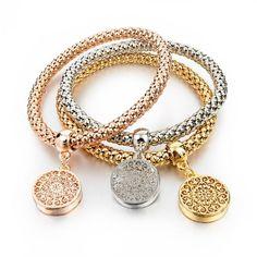 New Fashion Bracelets Bangles Jewelry Gold Silver Chain Bracelet Round Hollow Charm Bracelets For Women