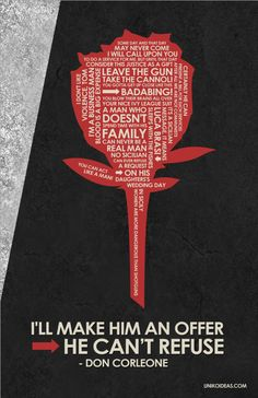 Fan Art of Godfather quote poster for fans of The Godfather Trilogy. Poster made of quotes from the godfather