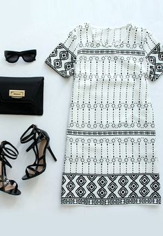 Graphic Prince Ivory and Black Shift Dress