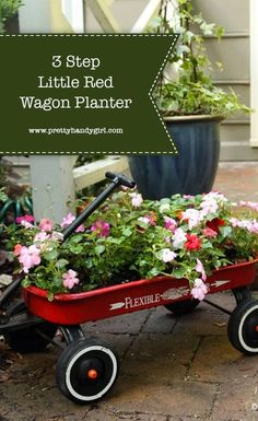 This 3 Step Little Red Wagon Planter is sure to bring color to your landscaping while also providing some fun and whimsy. | Pretty Handy Girl | #prettyhandygirl #diyplanter #wagonplanter #containergardening #gardening Garden Crafts, Garden Projects, Diy Projects, Garden Ideas, Rustic Landscaping, Landscaping Ideas, English Flower Garden, Wagon Planter, Little Red Wagon