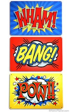 This Wham Bang Pow Comic Sound Effects Wall Decals Set is great for a game room or kids room. Superhero Room, Superhero Party, Superhero Signs, Batman Superhero, Comic Book Style, Comic Books, Anniversaire Wonder Woman, Pop Art, Classic Comics