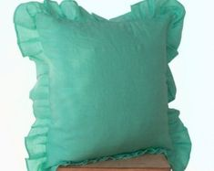 Seville Throw pillows - Tiffany Blue Pillows- Linen Blend Ruffled Edge Pillow- Gift- Linen Decorative from casaamore-international. Teal Pillow Covers, Teal Throw Pillows, Couch Cushion Covers, Linen Pillows, Cushions, Pillow Crafts, Decorative Pillow Cases, Tiffany Blue, Dorm Decorations
