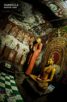 #21 Dambulla Cave Temple, Sri Lanka. Over 150 Buddha statues, some 50 feet long, sit, stand, and lie beneath 21,000 square feet of tapestry-like cave paintings depicting Buddha and his life. Statues of Ganesh and Vishnu are also garnished daily with fresh garlands from the pilgrims who come to worship. (www.secretlanka.com)
