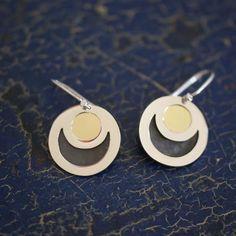 Silver & Brass Eclipse Earrings, Taxco Mexico