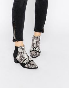 ASOS ROCK CITY Pointed Embellished Ankle Boots