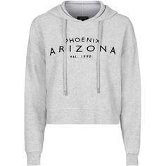 TopShop Arizona Brushed Hoody ($41) ❤ liked on Polyvore featuring tops, hoodies, crop tops, jumpers, sweatshirts, grey marl, leather crop top, cropped hoodie, gray hoodie and grey hooded sweatshirt