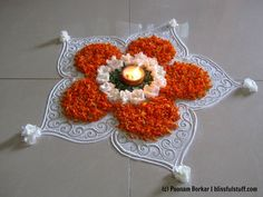 Easy and beautiful rangoli using marigold flowers | Innovative rangoli d...